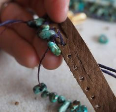 Fringed Turquoise Leather Bracelet (Customer Design) - Lima Beads I love Lima Beads!