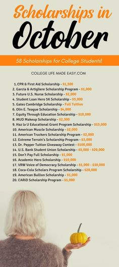 59 October Scholarships in 2019 [Broke Students – Apply Now] definitely SUPER happy I found this list of college scholarships with October deadlines because I need money to pay for college. I'm going to be applying for these ASAP, there actually a lot I q Scholarships For College Students, School Scholarship, Grants For College, College List, College Majors, Financial Aid For College, College Planning, Online College, College Hacks