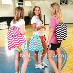 Drawstring backpack with monogram.