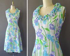 60s Lady in Italië jurk  jaren 1960 Vintage Floral Dress