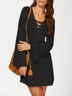 SHARE & Get it FREE | Flared Sleeve Lace Up Knit Dress - BlackFor Fashion Lovers only:80,000+ Items • New Arrivals Daily Join Zaful: Get YOUR $50 NOW!