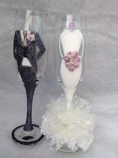 Sr. y Sra. hermosa novia y el novio boda flautas por weddingflutes