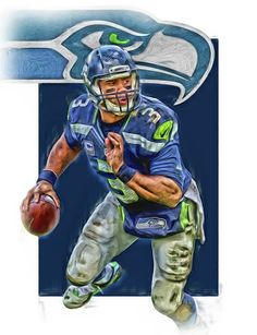 Russell Wilson Print featuring the mixed media Russell Wilson Seattle Seahawks Oil Art 3 by Joe Hamilton