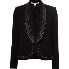 Diane Von Furstenberg Alyona Blazer (€665) found on Polyvore featuring outerwear, jackets, blazers, blazer, tops, black, black jacket, open front blazer, diane von furstenberg jacket and open front jacket (MARCH 2015!!!)