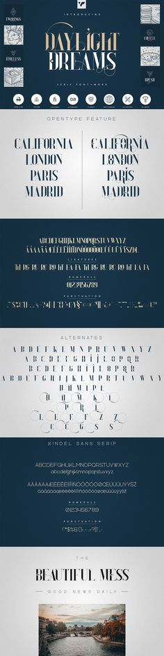 Daylight Dreams is elegant, creative font with 22 awesome vector designs, 22 logo templates, photoshop styles and multilingual support. It's a very versatile font that works great in large and small sizes.    #seriffont #typeface #elegant #graphicdesign #resources #ad #branding #logobundle #photoshop #fontbundle