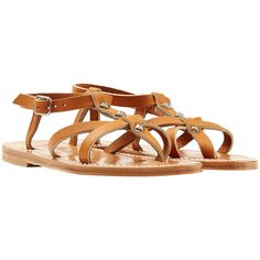 K.Jacques Emebllished Leather Sandals ($185) ❤ liked on Polyvore featuring shoes, sandals, camel, camel sandals, k jacques sandals, leather strap shoes, leather strappy sandals and genuine leather shoes