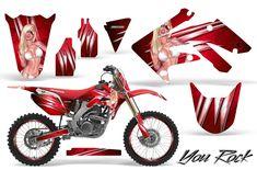Honda Motocross Graphic Kits with the largest selection of designs and colors. Honda Dirt Bike, Dirt Bike Gear, Moto Bike, Racing Bike, Motorcycle Stickers, Bike Stickers, Honda Cr, Yamaha Motocross, Cool Dirt Bikes
