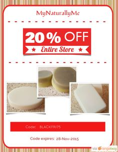 We are happy to announce 20% OFF our Entire Store. Coupon Code: BLACKFRI75 Min Purchase: 75.00 Expiry: 28-Nov-2015 Click here to view all products:  Click here to avail coupon: https://orangetwig.com/shops/AAAWWt3/campaigns/AABpseB?cb=2015011&sn=MyNaturallyMe&ch=pin&crid=AABpslK