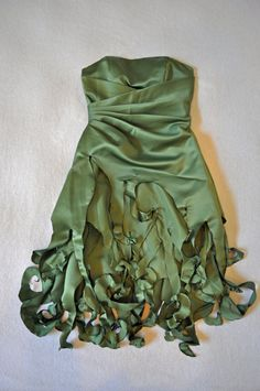Woodland Fairy or Tinkerbell, a Magical, Upcycled Alfred Angelo Strapless Costume Dress.  Faerie, Elf, Imp, Nymph or Sprite.