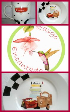 Jarro y plato playo, Cars. Pintura sobre porcelana. Rasgo Encantado