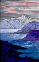 Stained glass panel with mountain and water. I love how the glass simply does all of the work for the sky