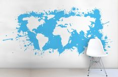 Typography world map wallpaper wall mural muralswallpaper our blue splatter world map wall mural is a brilliant contemporary take on the world map gumiabroncs Images