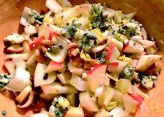 I just love the autumn flavors of fresh, crisp apples, walnuts and endive mixed with some delicious Gorgonzola cheese. Toss this salad with some greens for a holiday salad or add some turke...