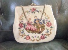 Vintage Christine Custom Bags, Needlepoint Purse, Needlepoint Handbag, Vintage Kiss Lock, Needlepoint Handbag, Christine Bags, Vintage Bags