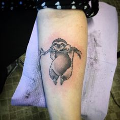 "@kdevil69tattoos on Instagram: ""Just a little sloth hanging around. #kdevil #southpawartist #tattooartist @beardedbrotherstattoo…"""