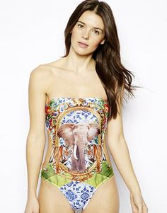 Discover the range of women's swimwear and beachwear at ASOS. Browse the latest bikinis, tankinis, bathing suits, and cover ups. Order now at ASOS. Bandeau Swimsuit, One Piece Swimsuit, Safari, Swimsuits, Bikinis, Swimwear, Asos, Photo Print, Elephant Print
