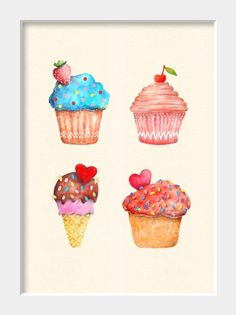 I love all things cupcake: Kitchen art print Watercolor Sweet Muffins wall by InkFivePrints, $16.00