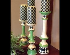 Whimsical, Hand-Painted Furniture & Home Decor di MicheleSpragueDesign Candlestick Crafts, Painted Candlesticks, Candleholders, Pillar Candle Holders, Pillar Candles, Candle Sticks, Mackenzie Childs Inspired, Hand Painted Furniture, Clever Diy