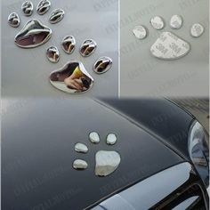 Car DIY Chrome Metal  Dog Footprint Paw Claw Feet Emblem Badge Sticker Decal | eBay