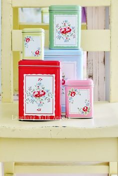 Gorgeous tins -shellac with old post cards or other pretty paper
