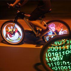 Nuevo popular diy bicicleta impermeable bicicleta habló luz de la rueda del neumático led programable pantalla de doble cara para la noche ee. uu. plug