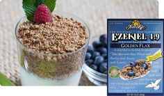 Ezekiel Flax Sprouted Whole Grain Cereal All the taste and nutrition of our original cereal with the added benefits of Organic Golden Flax. Ezekiel Cereal, Healthy Cereal, Cereal Food, Sprouted Whole Grain Bread, Bright Line Eating Recipes, Fiber Cereal, Vegan Fast Food, Whole Grain Cereals, Warm Food