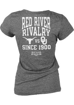 Texas Longhorns Womens Junior Fit Grey Beat OU V-Neck T-Shirt