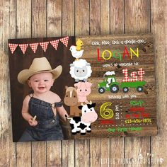 Farm Birthday Invitation Instant Downlaod Barnyard Party - Product Info This Editable Farm Birthday Invitation With The Cutest Farm Animals Is Perfect For Your Little Ones Barnyard Party Just Minutes After Purchasing This Listing Youll Have Acc Farm Animal Birthday, Tractor Birthday, Cowboy Birthday, 1st Boy Birthday, Boy Birthday Parties, Photo Birthday Invitations, Farm Party Invitations, Barnyard Party, Birthday Photos