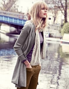 Boden 2012 Fall - Floaty Cardigan; Lightweight Layering Tee; Seam Detail Trouser; Printed Scarf