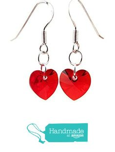 Red Heart Earrings with Swarovski Crystals and Sterling Silver from Jenni Leigh Creations https://www.amazon.com/dp/B01AXDX31G/ref=hnd_sw_r_pi_dp_RdrGyb53PSE14 #handmadeatamazon