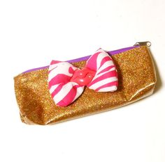 Glitter Gold Cosmetic Bag with Pink Zebra Print Bow and Lips Charm