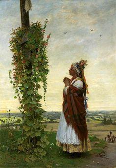 "lamus-dworski: ""Antoni Kozakiewicz (Polish, Peasant Girl Before a Shrine, 1894 [via Wikimedia] "" Polish Folk Art, Digital Museum, Principles Of Art, Wedding Wreaths, How To Make Ornaments, Hair Ornaments, Culture, Bridal Flowers, National Museum"