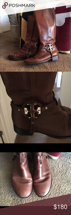 TORY BURCH BOOTS Size 8M. Used condition with a little scrape on the toes but not noticeable when wearing. I just took these to the barn and polished them with leather cleaner and softener. They're very well taken care of. Priced accordingly. Tory Burch Shoes Heeled Boots