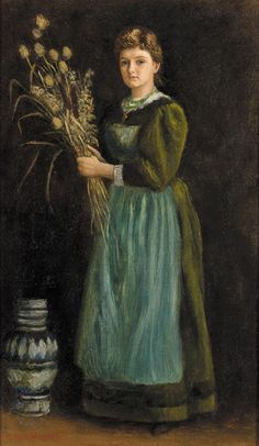 """Painting of the Day! Arthur Hughes (1832-1915) """"Lucy Hill"""" Oil on canvas 1888 To see more works by this artist please visit us at: http://www.artrenewal.org/pages/artwork.php?artworkid=18200&size=large"""