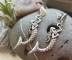 I Love Mermaids Earrings by bluesparrowtrinkets on Etsy