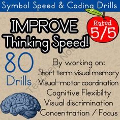 Improve Mental Processing Speed | Therapeutic Activity for processing speed, short-term visual memory, visual-motor coordination, cognitive flexibility, visual discrimination, and concentration from Selma Dawani Educational Therapy on http://TeachersNotebook.com (20 pages)  - Mental processing speed is very important.   Helping your student increase processing speed is worth the effort. Processing influences auditory comprehension, perceptual organization, planning and learning ability…