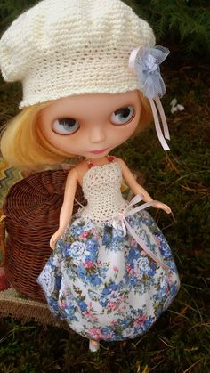 BLYTHE flowery layered DRESS and cream beret by ZomiDollClothes