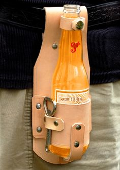 Brewski beer or soft drinks holster and opener.