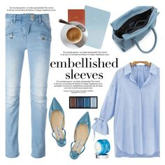 """Make a Statement: Embellished Sleeves"" by helenevlacho ❤ liked on Polyvore featuring Balmain, Jimmy Choo, Givenchy, Clé de Peau Beauté, contestentry and embellishedsleeves"