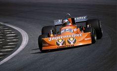 "itsawheelthing: "" leaning in … Hans-Joachim Stuck, Jägermeister March-Ford 761, 1976 Austrian Grand Prix, Zeltweg """