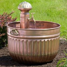 Copper Barrel Fountain with Faucet - Antique Copper - Outdoor Fountains - Outdoor