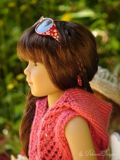 """Hand-knitted lace-stitched hoodie designed to fit 18"""" Kidz N' Cats dolls by Debonair Designs"""