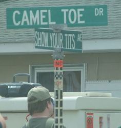 At the corner of Camel toe and Show your tits! Street Name Sign, Funny Street Signs, Funny Road Signs, Fun Signs, Street Names, Town Names, Funny Names, Funny Pictures With Captions, Just For Laughs