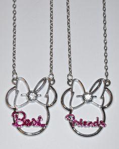Minnie Mouse Best Friends Necklaces 2 PC Metal Disney Charm Necklaces 18 NIP | eBay