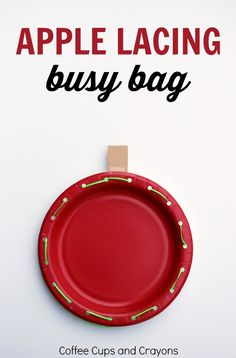Make a simple apple lacing busy bag to help preschool kids work on fine motor skills. A fun and simple activity kids can play again and again! Fine Motor Activities For Kids, Apple Activities, Autumn Activities, Preschool Activities, Preschool Curriculum, Therapy Activities, Kindergarten, Preschool Apple Theme, Preschool At Home