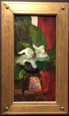 "Simple gold leaf frame with 2 incised lines, beaded edge. and carved ""tacks"" in the corners. John LaFarge, American, 1835-1910.  Magnolia Grandiflora.  Oil on panel"