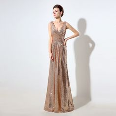 Rose Gold Sequin Bridesmaid Dresses Long 2016 Deep V-neck Sparkly Party Dress Sleeveless Wedding Guest Dress In Stock SD326