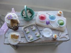 Dollhouse miniatures spring baking and egg dying by Kimsminibakery