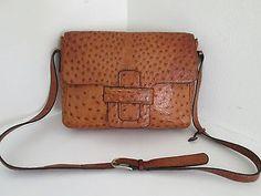 Vintage Rare DELVAUX Full Ostrich Leather Flap Over Shoulder Bag Handbag