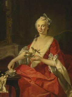Portrait of a lady taking tea Donat Nonotte 1708-1785